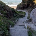 A few stairs make up the last section of trail.- Agate Beach