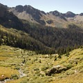 Above treeline, looking west over the Chicago Basin from the Twin Lakes Trail to Windom Peak.- Windom Peak
