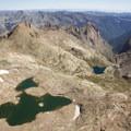 Alpine lakes to the southeast of the summit of Windom Peak in the Weminuche Wilderness.- Windom Peak