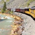 The Durango-Silverton Narrow Gauge Railroad winds its way along the Animas River.- Durango-Silverton Narrow Gauge Railroad