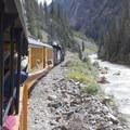 The Durango-Silverton Narrow Gauge Railroad along the Animas River.- Durango-Silverton Narrow Gauge Railroad