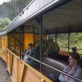 The open-air gondolas on the Durango-Silverton Narrow Gauge Railroad.- Durango-Silverton Narrow Gauge Railroad