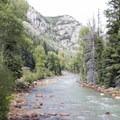 The Animas River along the Durango-Silverton Narrow Gauge Railroad.- Durango-Silverton Narrow Gauge Railroad