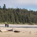 Walking the beach.- Schooner Cove