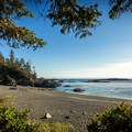The view of Ucluth Beach from the walk-in campsites.- Wya Point Resort Campground