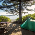 Beachfront camping at Wya Point Resort.- Wya Point Resort Campground