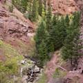 The trail along a red rock canyon to Cornet Creek Falls.- Cornet Creek Falls