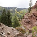 The view from Cornet Creek Falls toward Telluride and Telluride Ski Resort.- Cornet Creek Falls