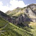 Views from the Via Ferrata toward Bridal Veil Falls.- Via Ferrata, Telluride