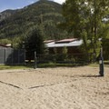 Volleyball court at Town Park Campground.- Town Park Campground