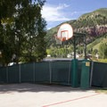 Basketball courts at Town Park Campground.- Town Park Campground