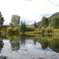 A serene pond at Town Park Campground.- Town Park Campground
