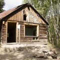 The historic cabin at Priest Lake Campground.- Priest Lake Campground