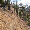 Walking along the precarious 7-Up Pass.- Bear Basin + Seven Up Pass
