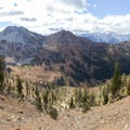 Looking down into the Deer Creek watershed from 7-Up.- Bear Basin + Seven Up Pass