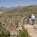 Overlooking the vertiginous depths of the Black Canyon of the Gunnison at Rock Point Overlook.- South Rim Road