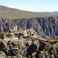The Pulpit Rock Overlook at Black Canyon of the Gunnison, a peninsula of solid ground that lends the overlook its name.- South Rim Road