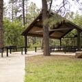 A covered pavilion in the day use area near Junction Creek Campground.- Junction Creek Campground