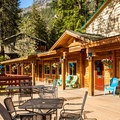 The restaurant has a beautiful deck overlooking the lake.- The North Cascades Lodge at Stehekin