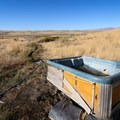 Long views from the soaking tub.- Dry Suzie Hot Spring