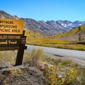 Terraces is marked by a sign along Lamoille Canyon Scenic Byway.- Terraces Campground + Picnic Area