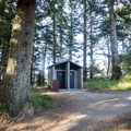 Vault toilets under the shade of trees.- Arch Rock Viewpoint + Picnic Area