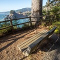 A bench with a great view of the coast.- Arch Rock Viewpoint + Picnic Area