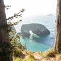 View of Arch Rock from the walkway.- Arch Rock Viewpoint + Picnic Area