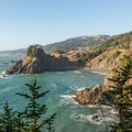 Views northward along the coast.- Arch Rock Viewpoint + Picnic Area