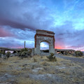Lincoln School arch, the most visible part remaining of Metropolis.- Metropolis Ghost Town