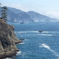 Closer view of the coastline to the south.- Thunder Rock Cove