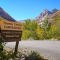 Entrance to Thomas Canyon Campground (7,600 ft).- Thomas Canyon Campground