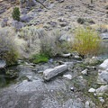 It takes a bit of a jump for hikers to cross the stream, depending on recent weather conditions.- Twelve-Mile Hot Spring