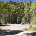 The parking lot about a mile from the Cascade Creek Trailhead.- Cascade Creek Trail