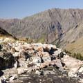 Quartz formations near the Highland Mary Lakes.- Highland Mary Lakes