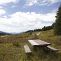 Picnic table at Lizard Head Day Use Area.- Lizard Creek Day Use Area
