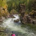 Enjoying the scenery before proceeding downstream on Opal Creek.- Opal Creek: Mine to Three Pools
