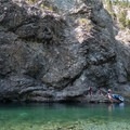 The pools formed in the Smith River are lined by cliffs that one can climb for various jumping spots.- Panther Flat Pools
