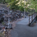 The trail itself is entirely paved, making it an excellent spot for those with wheelchairs. This portion curves around to the trail's beginning and the option to see the confluence of Patrick's Creek and the Smith River.- Patricks Creek Interpretive Trail
