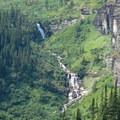 Waterfalls below Iceberg Lake.- Iceberg Lake
