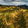 The road winding through aspen groves and approaching Owl Creek Pass.- Owls Creek Pass + Silver Jack Reservoir