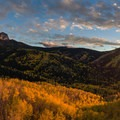 Sunset from the Stealey Mountain Trailhead.- Owls Creek Pass + Silver Jack Reservoir
