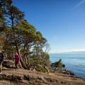 Hikers on the Coast Trail, East Sooke Park.- Coast Trail: Aylard Farm to Beechey Head