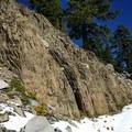 Beautiful rock formations adorn the side of Union Peak.- Union Peak