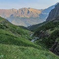 Nearing the bottom of Sunrift Gorge.- Piegan + Siyeh Pass