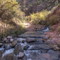 At this point you begin to make crossings up river rather than across.- Kanarra Creek Trail to Kanarraville Falls