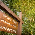 Sign at the entrance to the campground.- Goldstream Campground