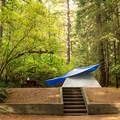This particular site has a concrete staircase, not great for small children.- Goldstream Campground