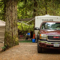 Camping among ancient Douglas fir and western redcedar at Goldstream.- Goldstream Campground