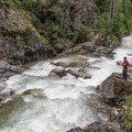 Easy scouting on the right of the Gorgette.- Pack River: The Upper Slides, Middle Upper Pack